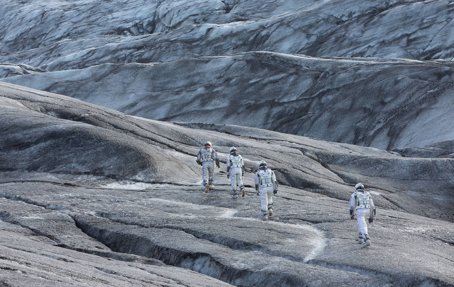 astronauts walking up hill in christopher nolan's interstellar