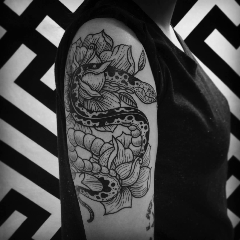 vintage snake tattoo