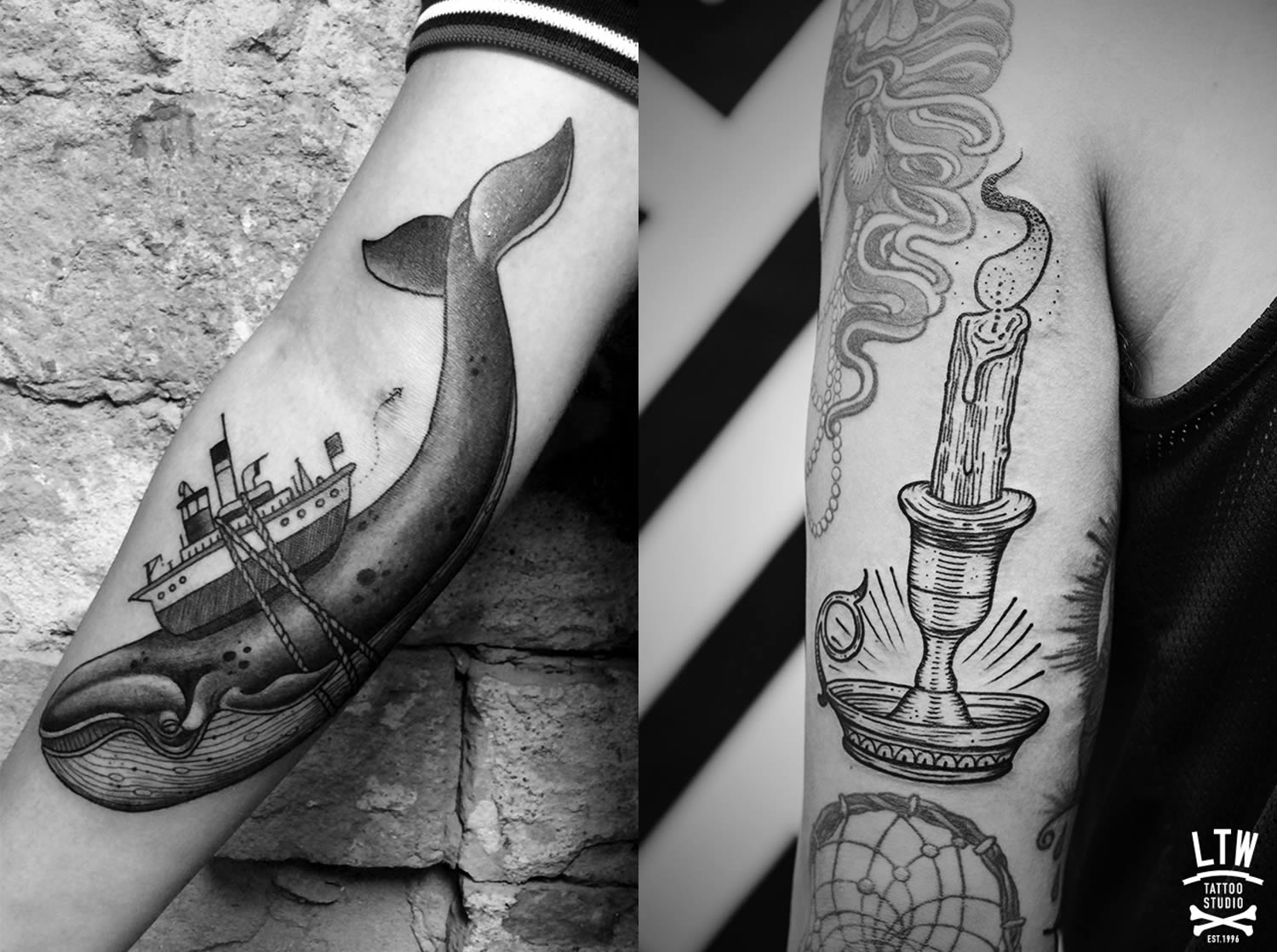 whale and candle tattoos