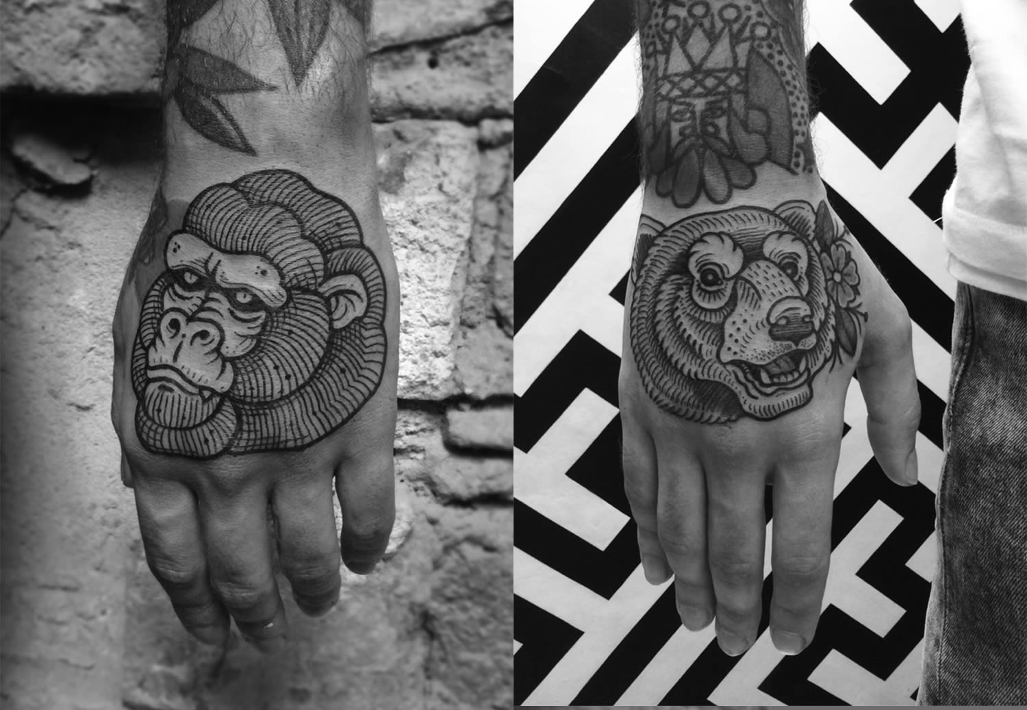 gorilla and bear hand tattoos