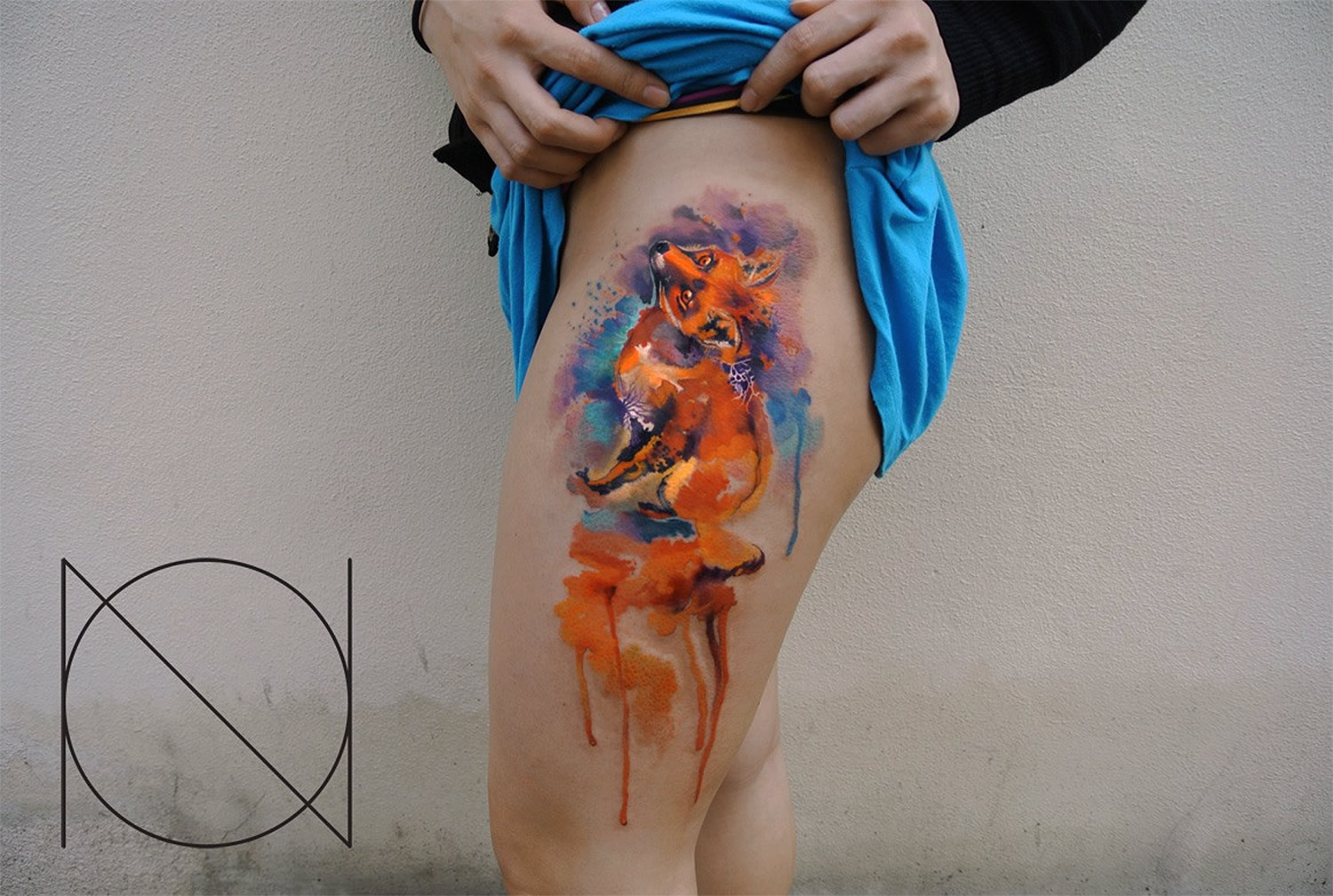red fox watercolor tattoo by ondrash