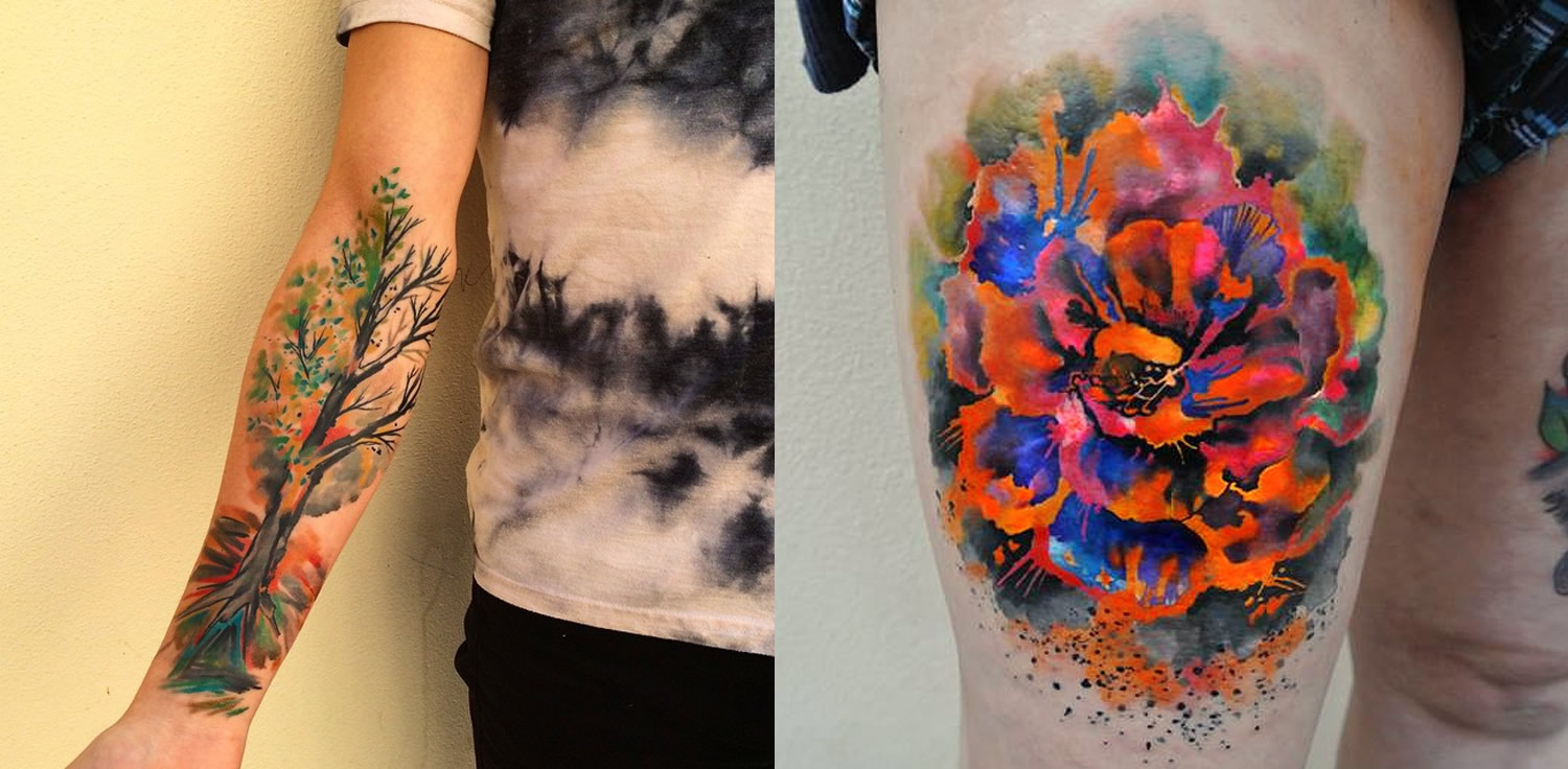 watercolor tattoos: tree and flower by ondrash