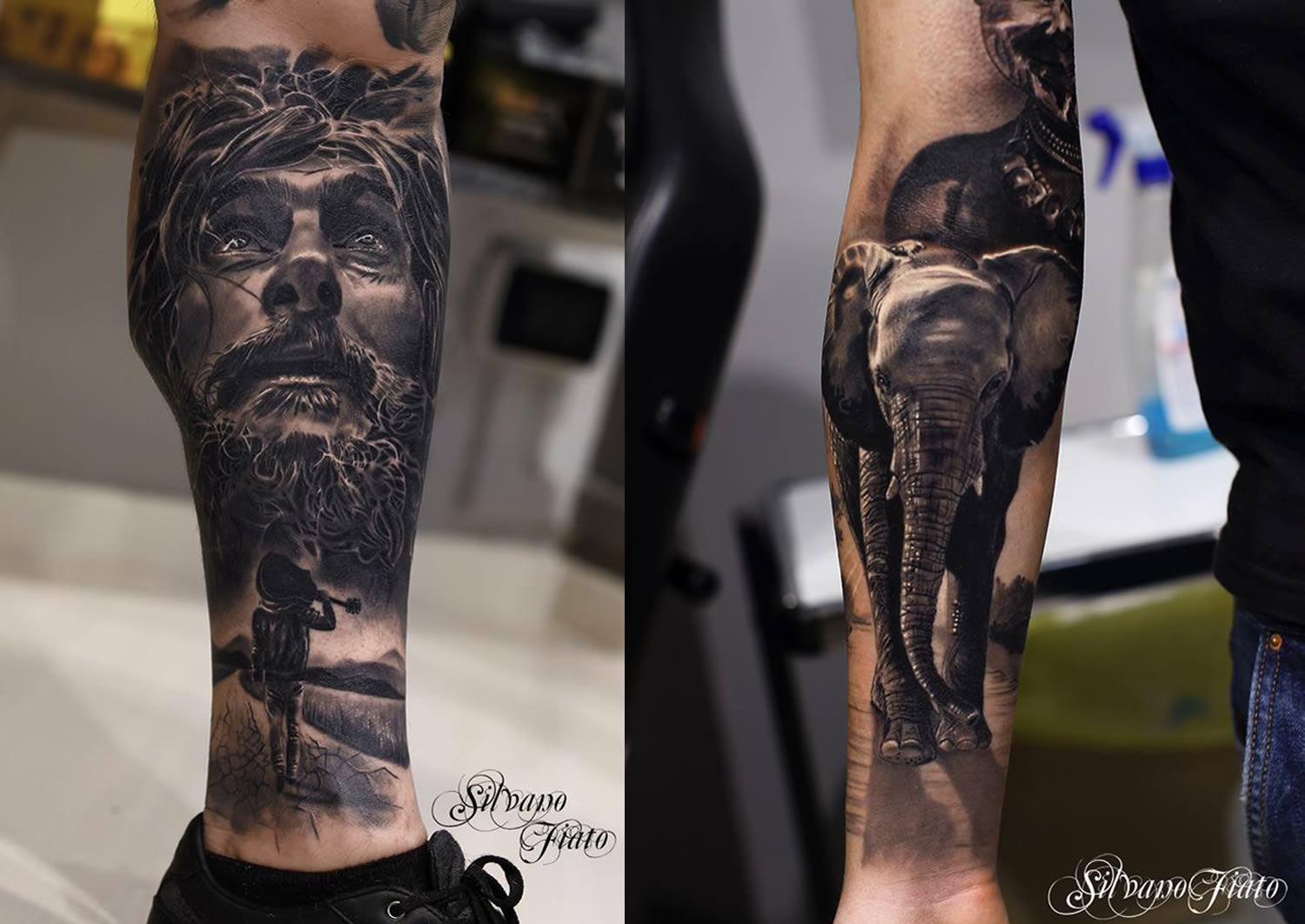 jesus christ and elephant tattoos, realism, hyerreal by silvano fiato