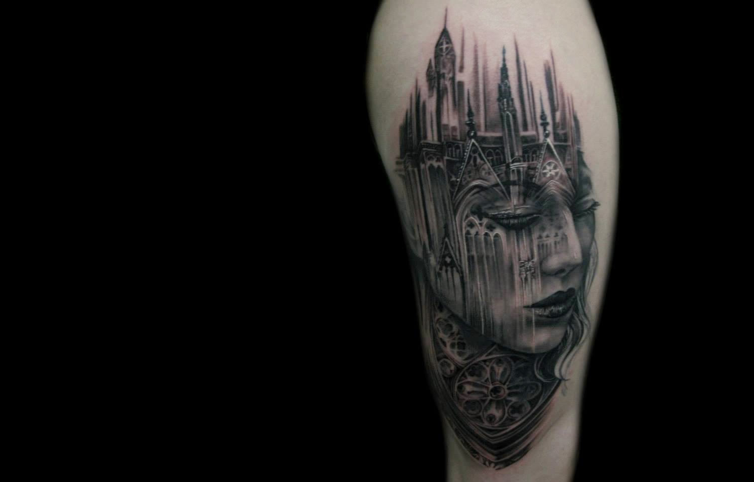 cathedral girl portrait tattoo by tony mancia
