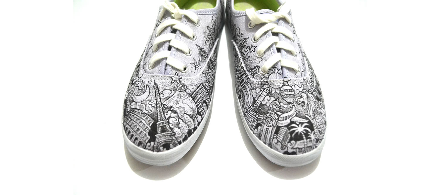 ked sneakers with drawings