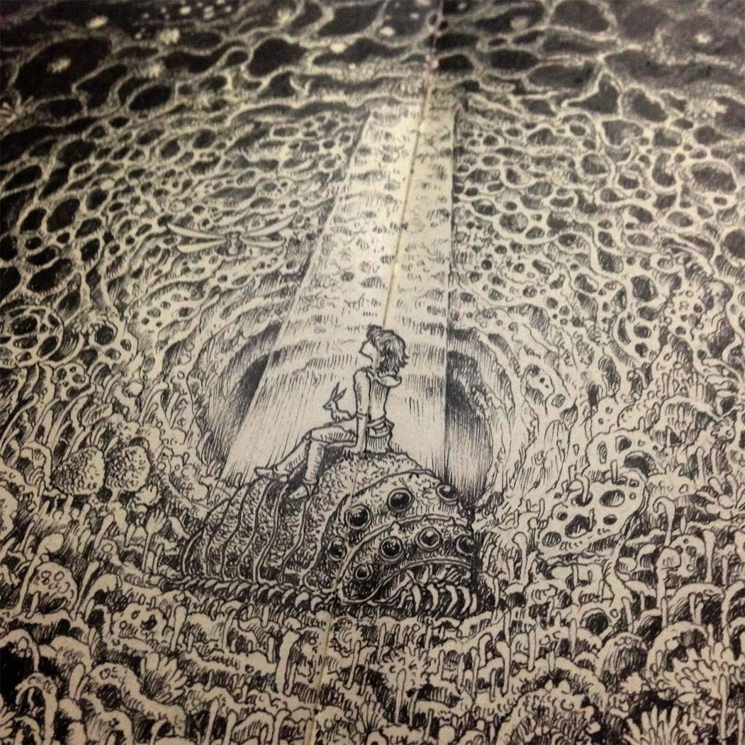 close-up of dark drawing