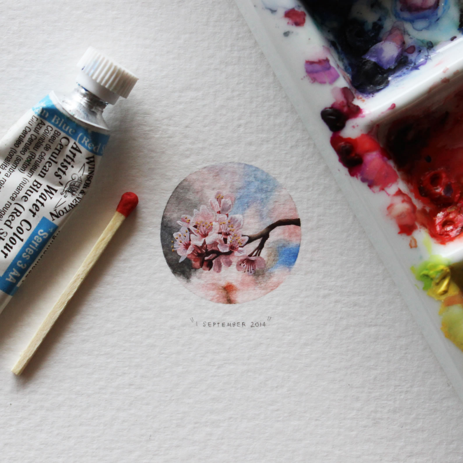 cherry blossoms miniature painting