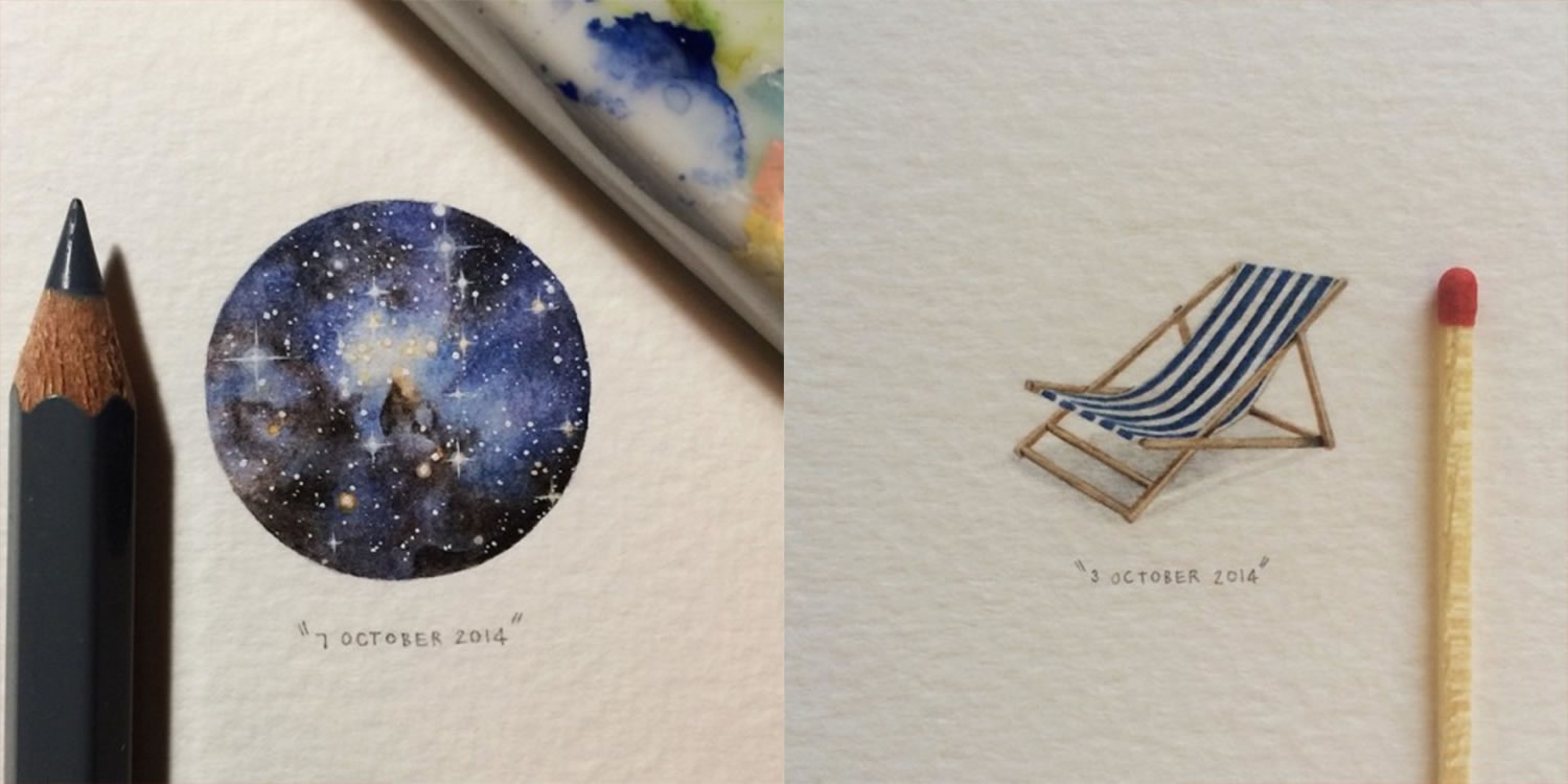 galaxy and beach sun-bathing chair, miniature paintings