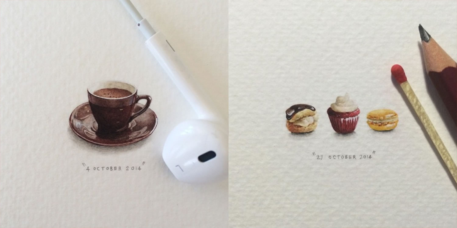 brown cup of hot chocolate and pastries, mini paintings