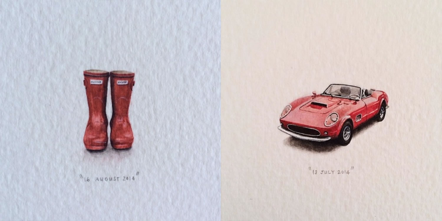 red rubber boots and red classic car, miniature paintings