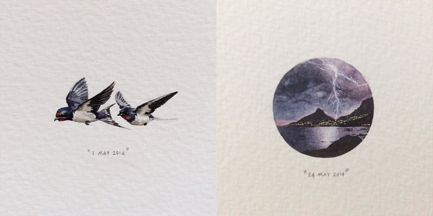 birds flying and mountain and milkyway sky, miniature paintings