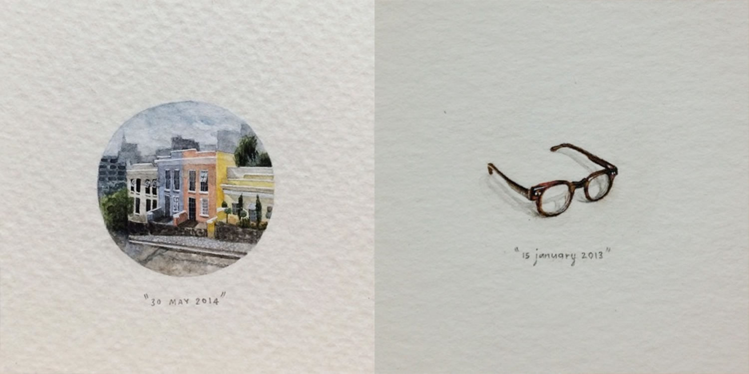 colored houses and eyeglasses, miniature paintings