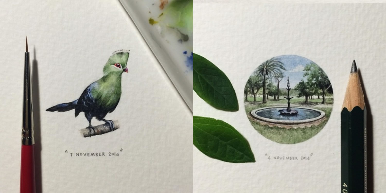 green bird and fountain, miniature paintings