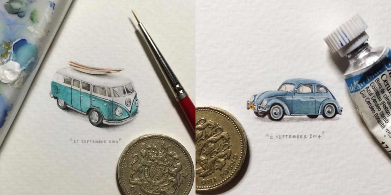 vw van and buggy (beetle car) miniature paintings