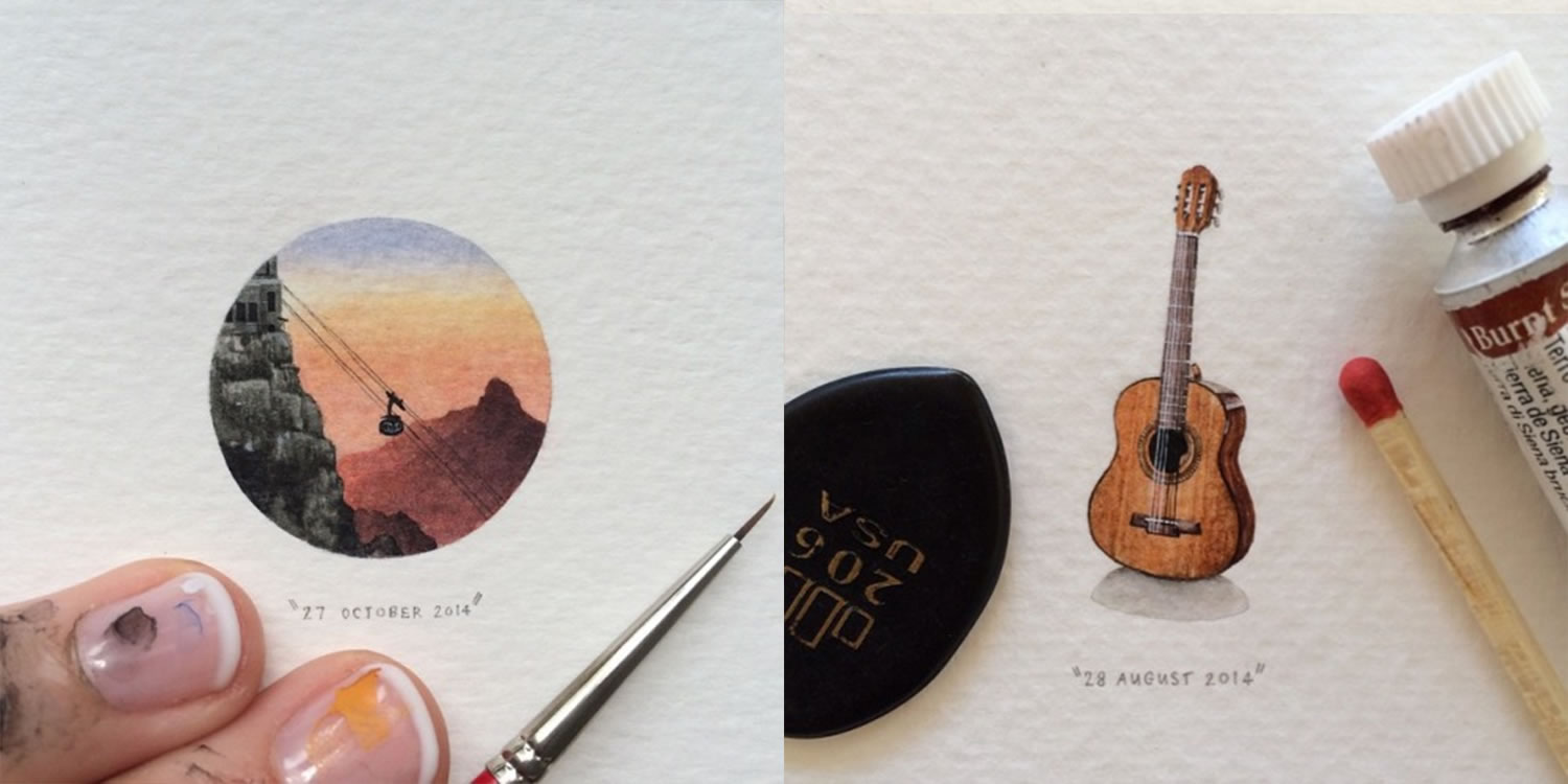 orange landscape andacoustic guitar, mini paintings