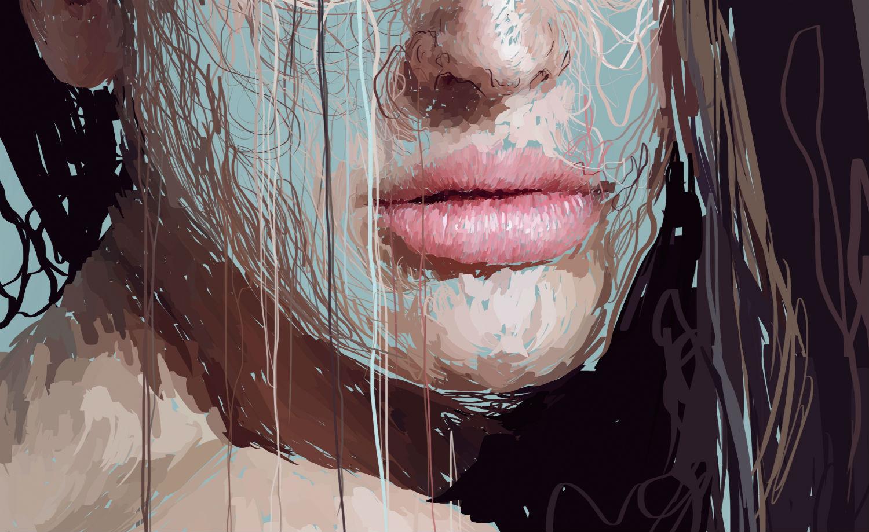 Marcello Castellani digital art paint portrait close up lips