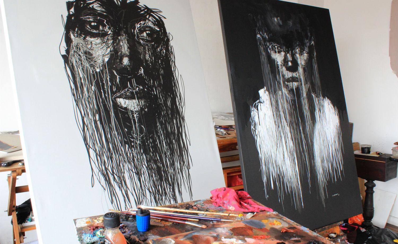 Marcello Castellani digital art paint portrait canvas behind the scenes