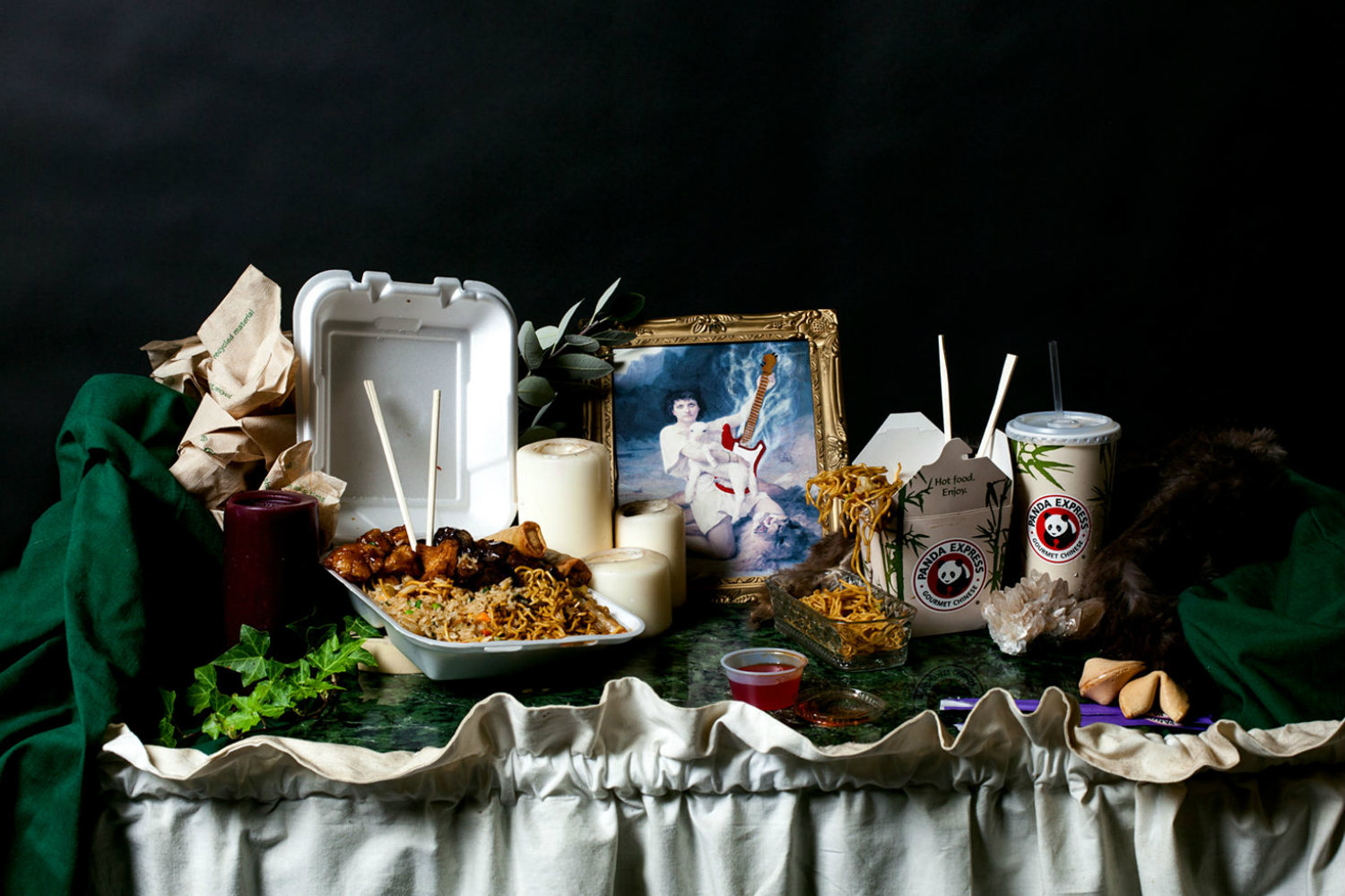 Rebecca Rütten photography portrait fine art history satire black backdrop food