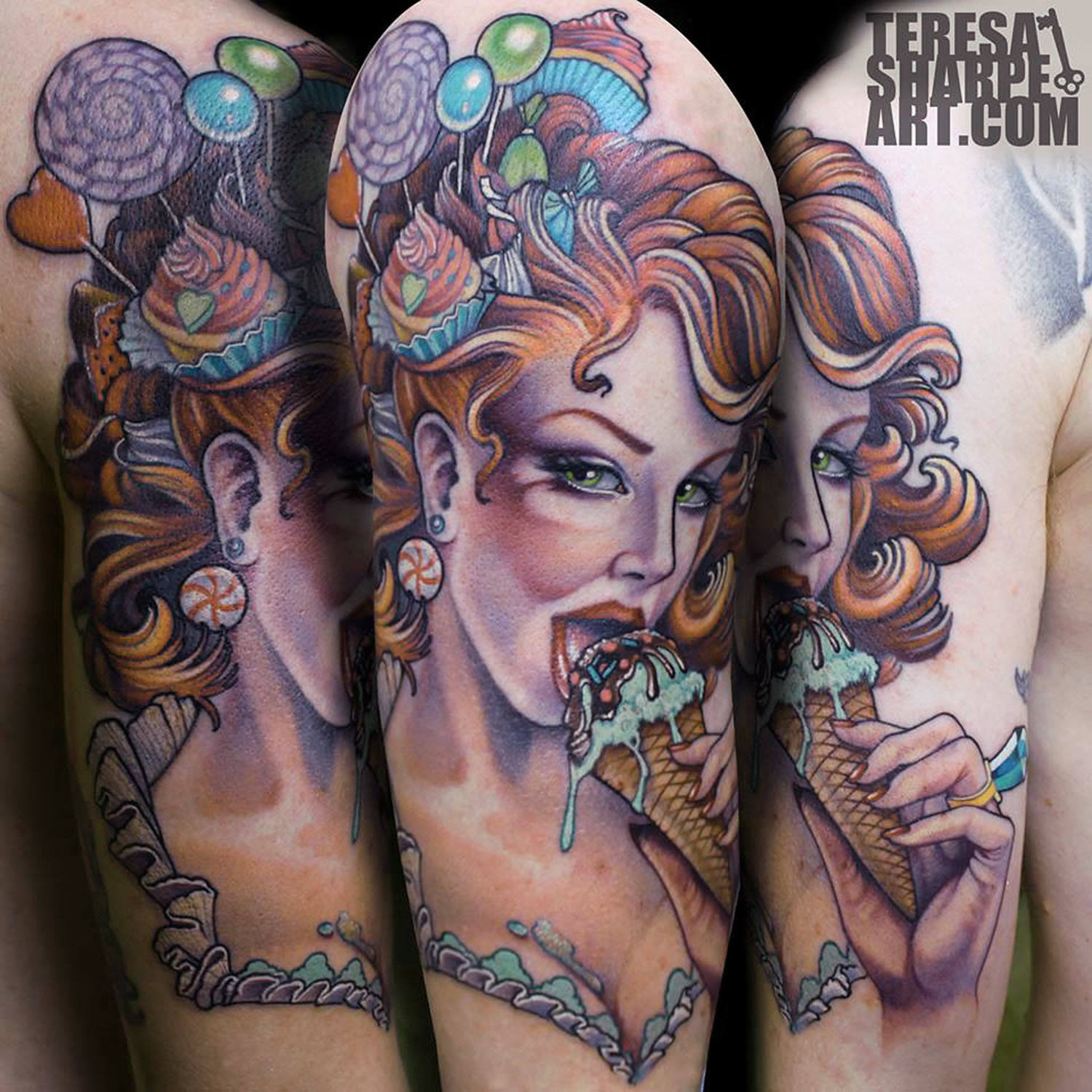 pinup girl eating icecream, tattoo