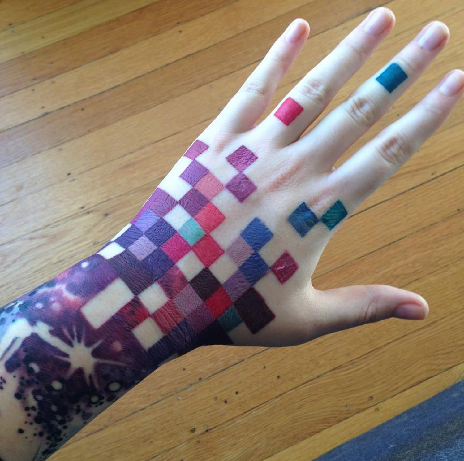 colorful squares tattoo