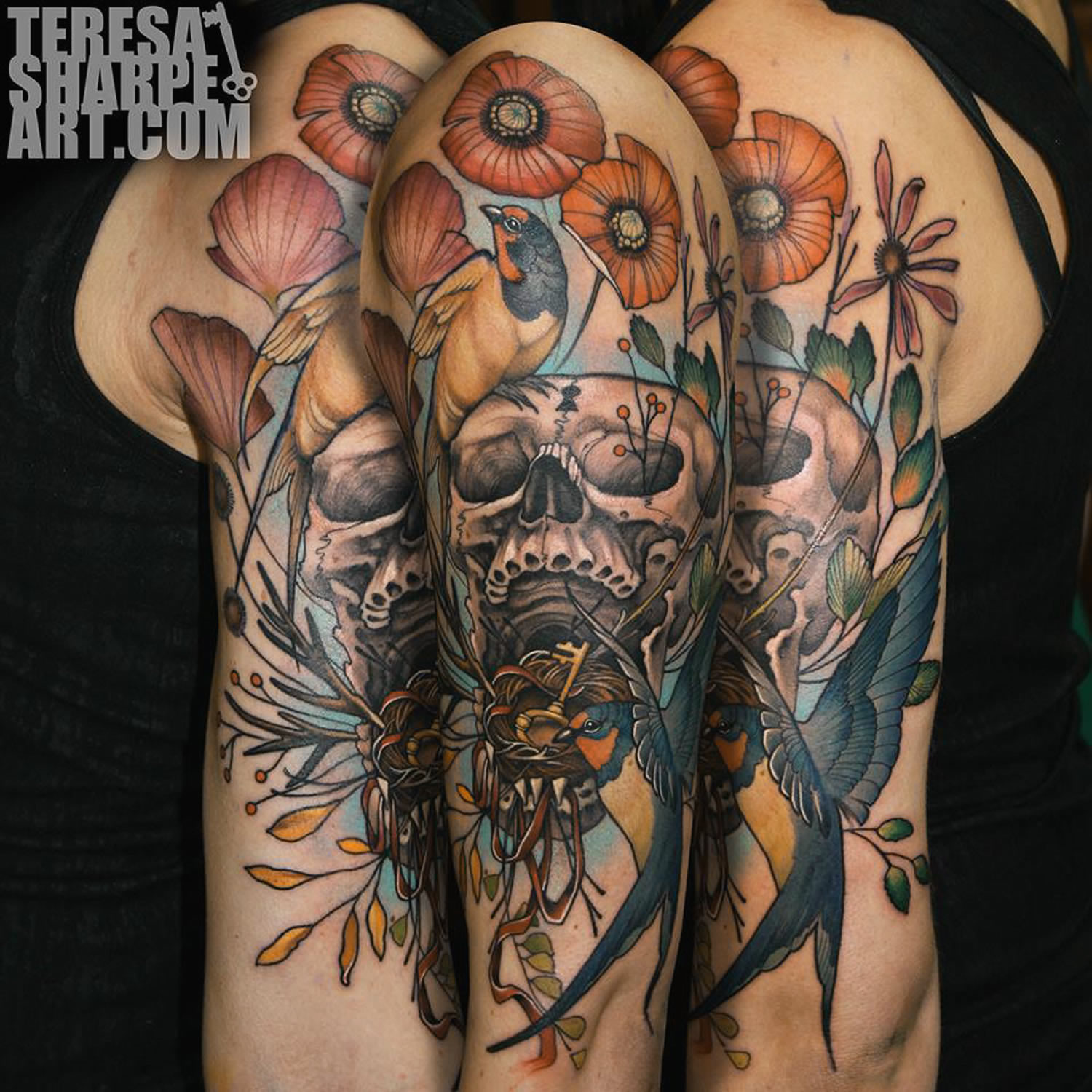 skull and poppies tattoo