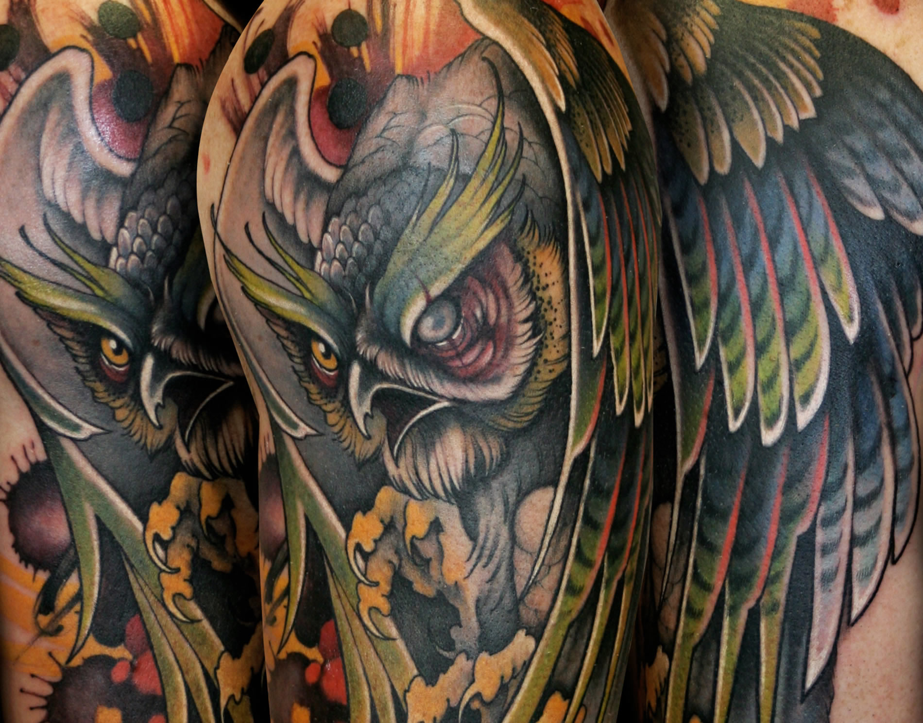 dramatic owl tattoo