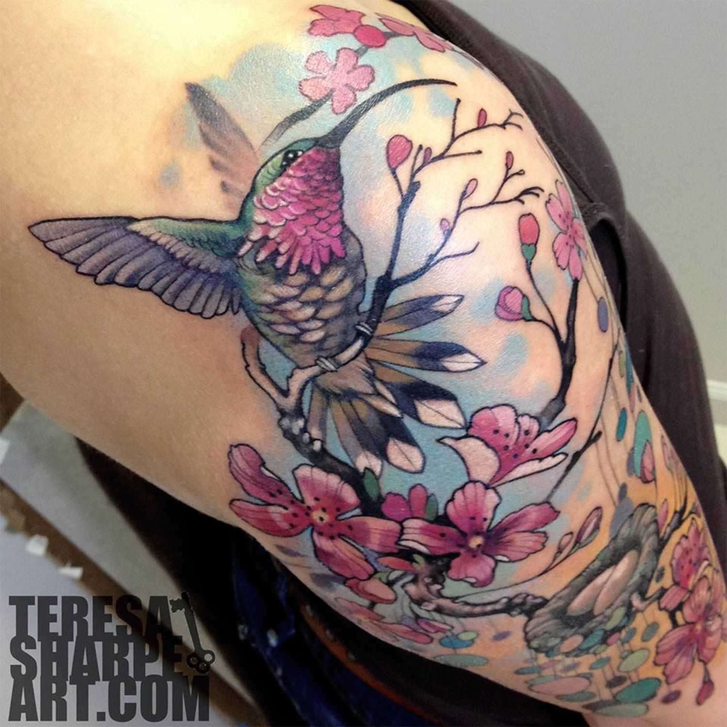 hummingbirb and cherry blossom tree tattoo