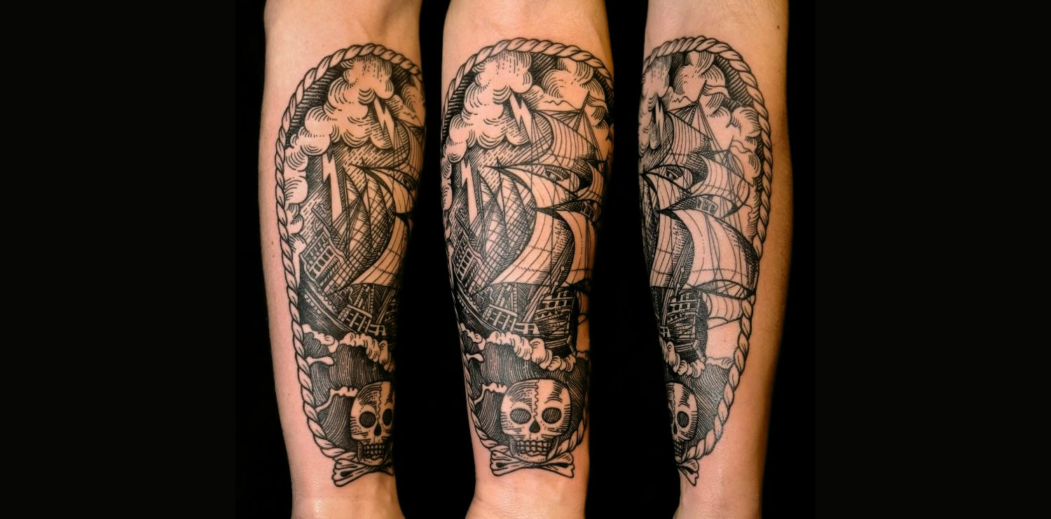 Pirate ship inked on a client's anterior forearm by Pietro Sedda (Italy).