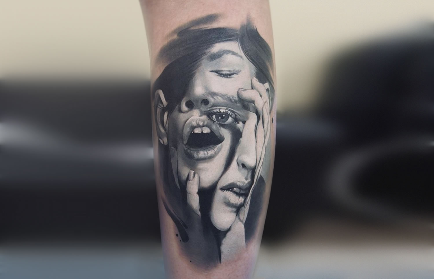 mismatched faced, tattoo by valentina ryabova