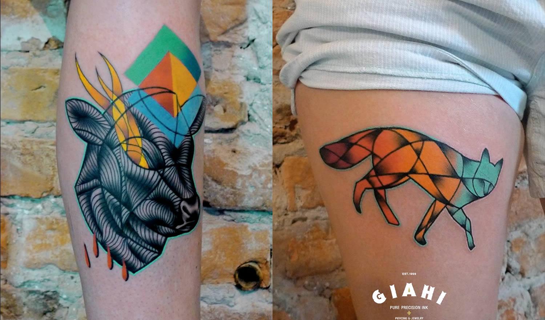 ox and fox tattoos by Mariusz Trubisz