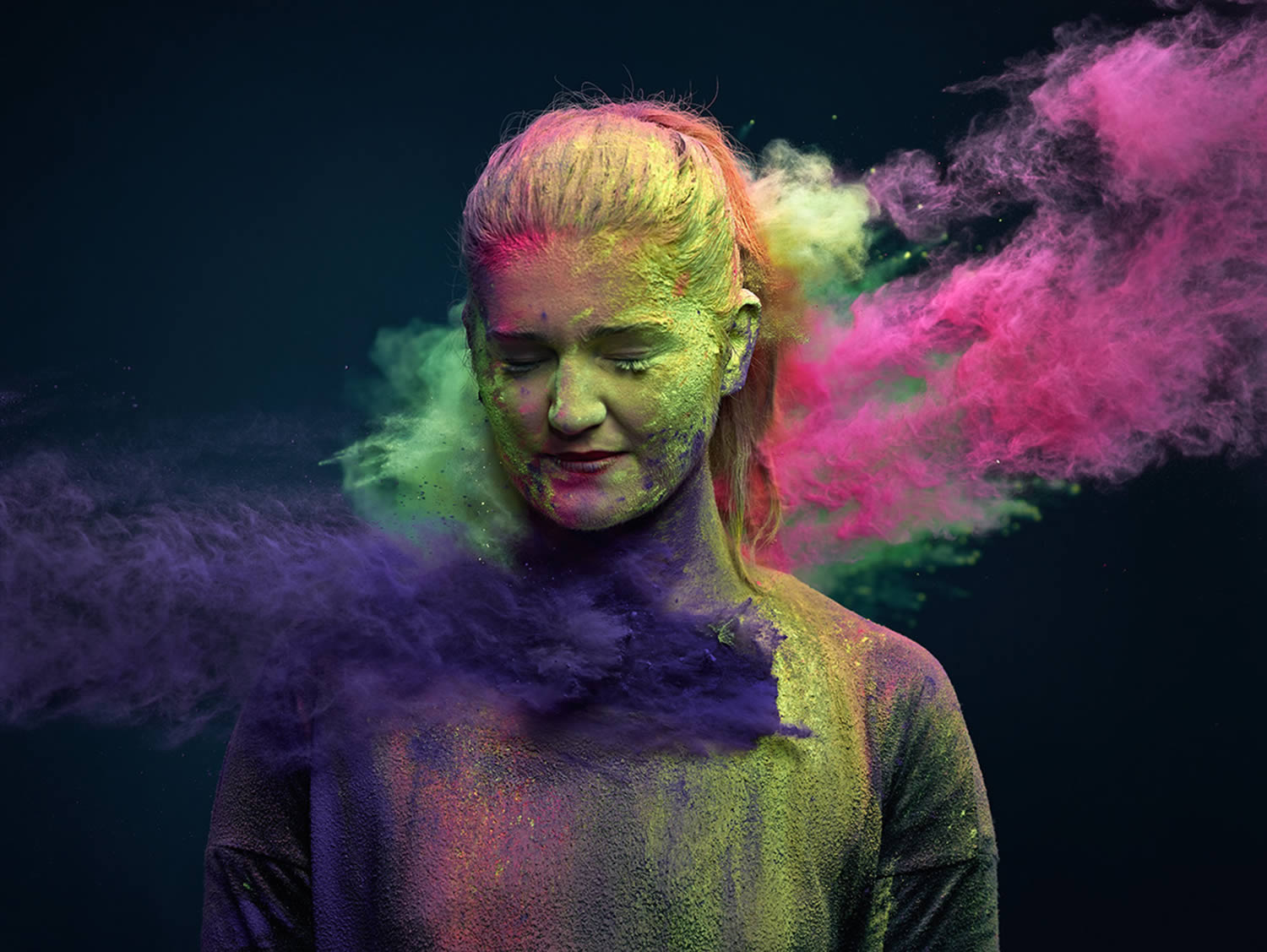 colorful powder thrown on woman,Ars Thanea Portraits