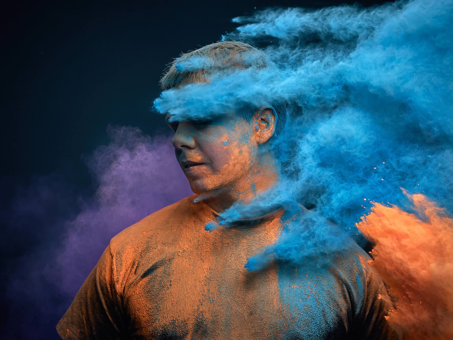 holi color powders on man, Ars Thanea Portraits