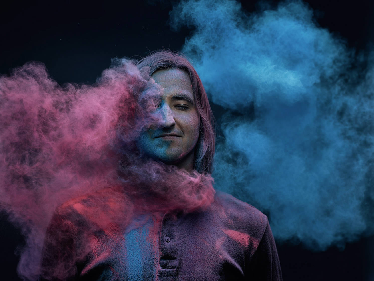 pink and blue holi colours on man, Ars Thanea Portraits