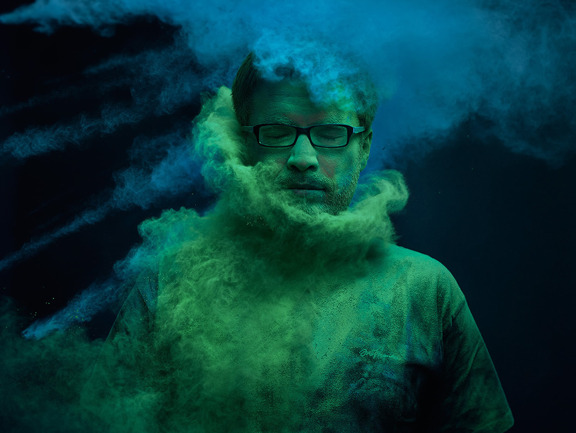 green and blue powder on man with glasses, Ars Thanea Portraits