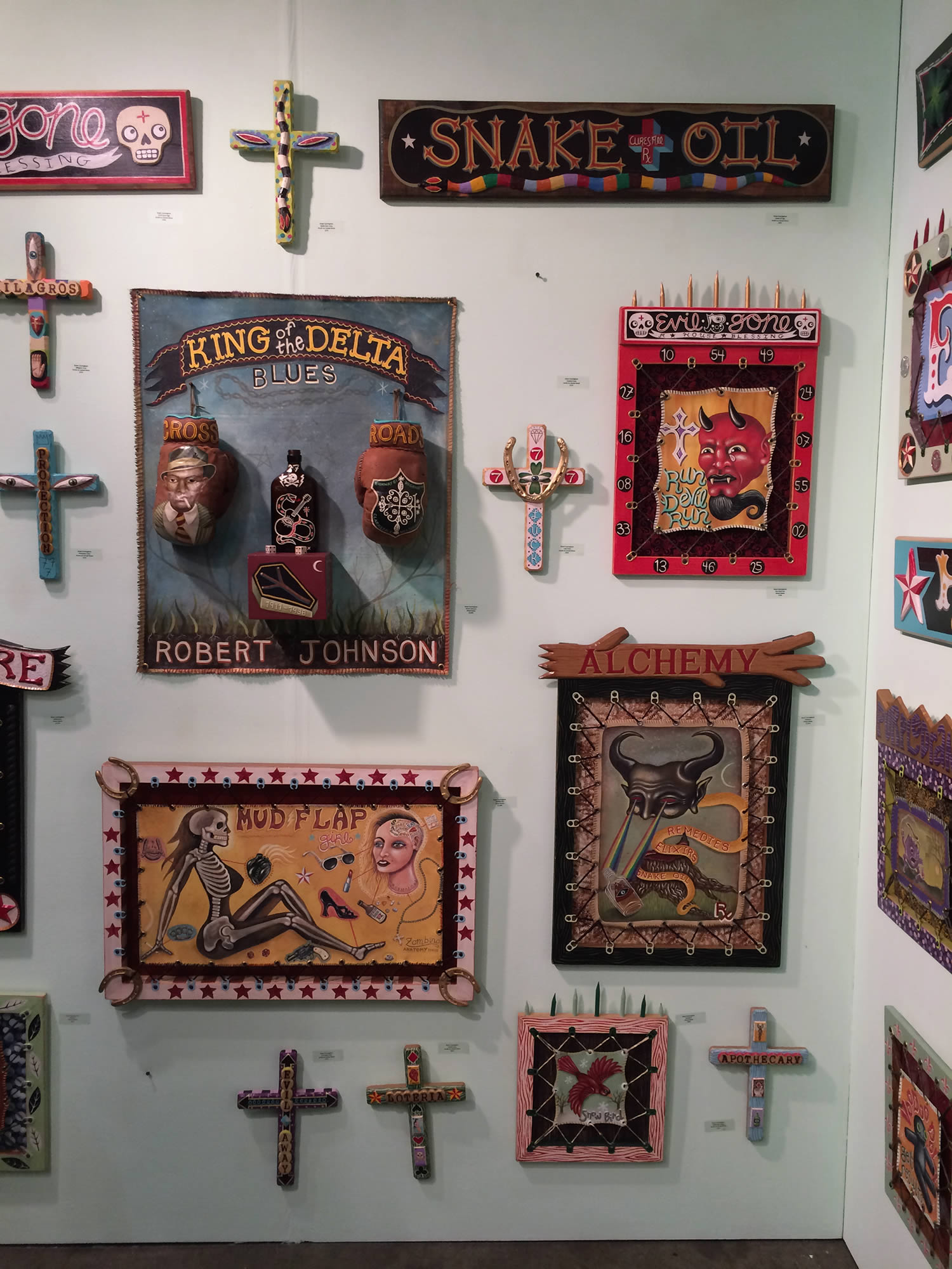 mexican art, religious crosses on wall