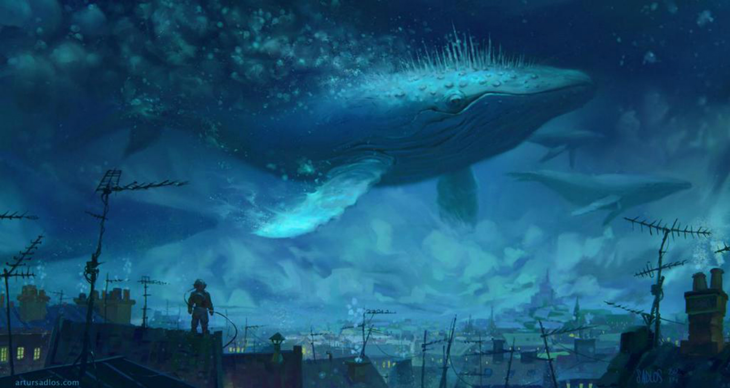 artur sadlos fantasy landscape digital art whale