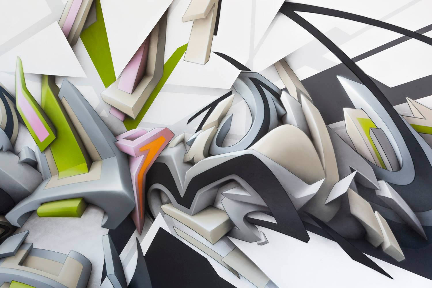 close up of 3d letters, graffiti