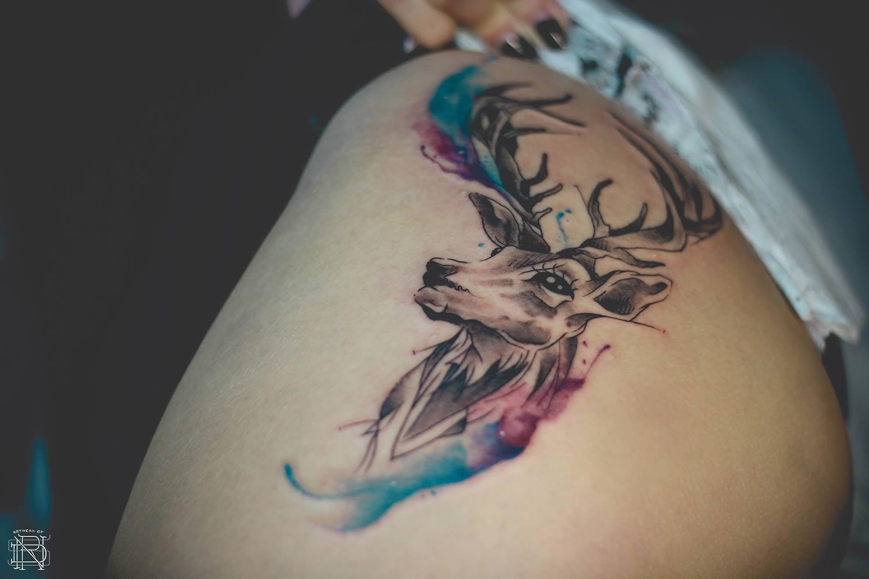 deer, watercolor tattoo by dener silva
