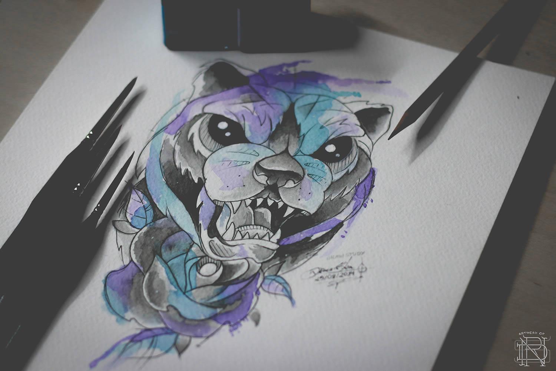 angry bear, watercolor tattoo by dener silva