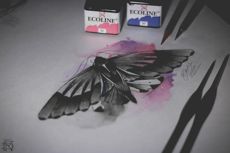butterfly watercolor art by dener silva
