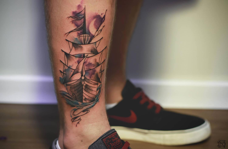 ship tattoo by dener silva