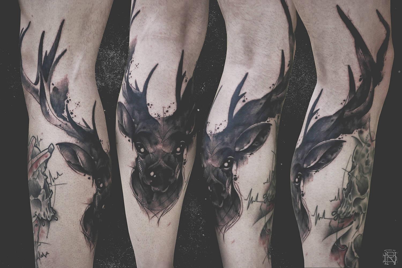 dark deer tattoo by dener silva