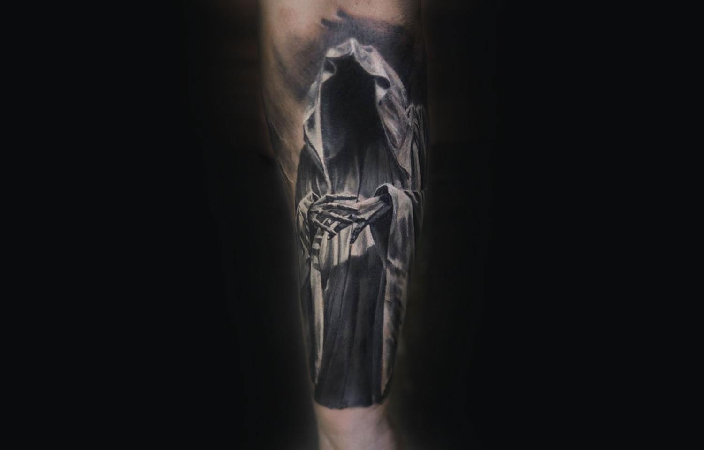 grim reaper, death, tattoo by iwan yug