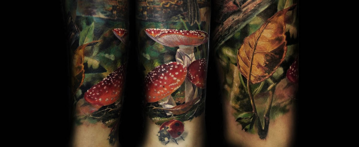 red mushrooms and vegetation, tattoo by iwan yug