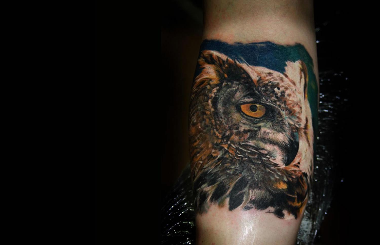 realistic owl tattoo by iwan yug