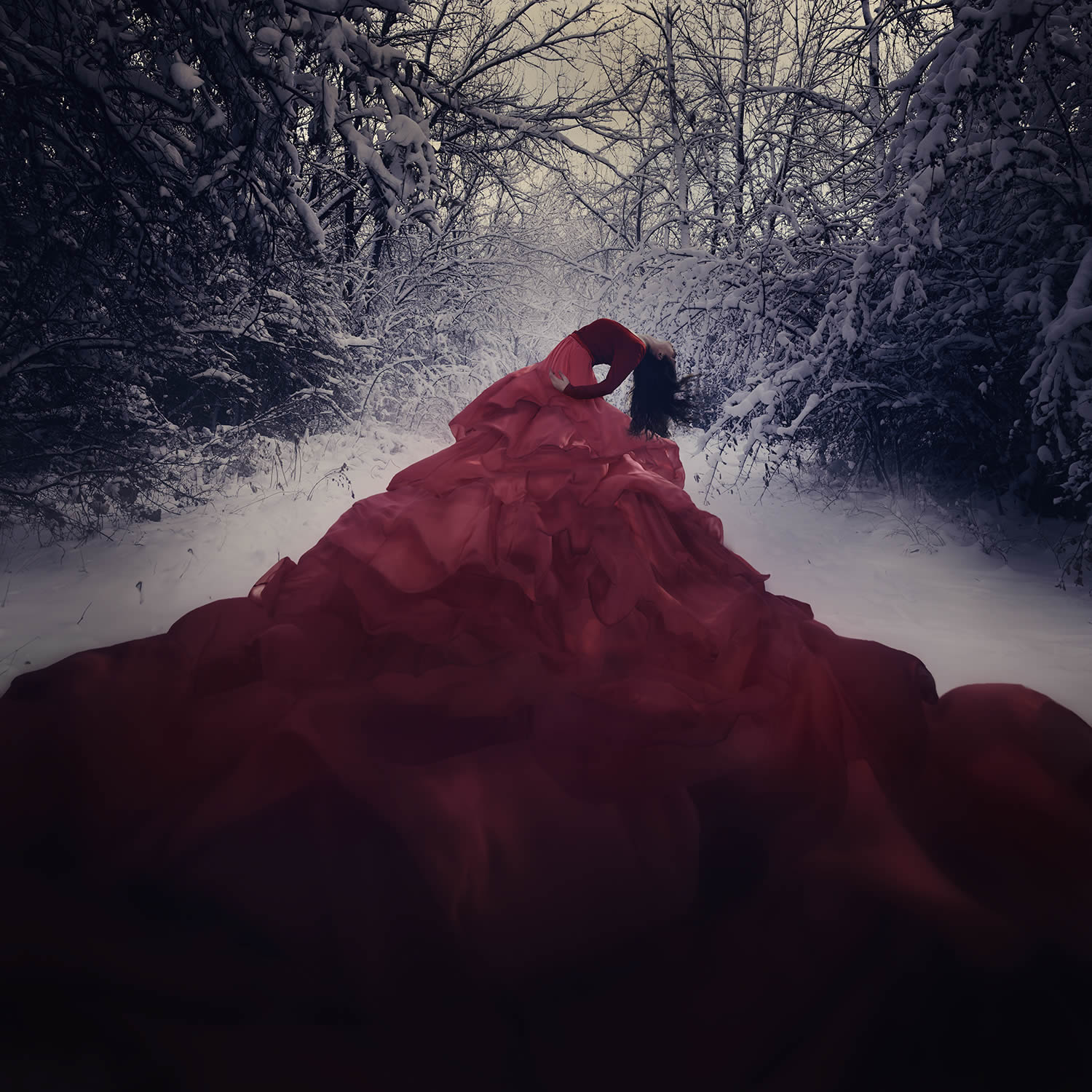 big red dress, surreal photo by jenna martin