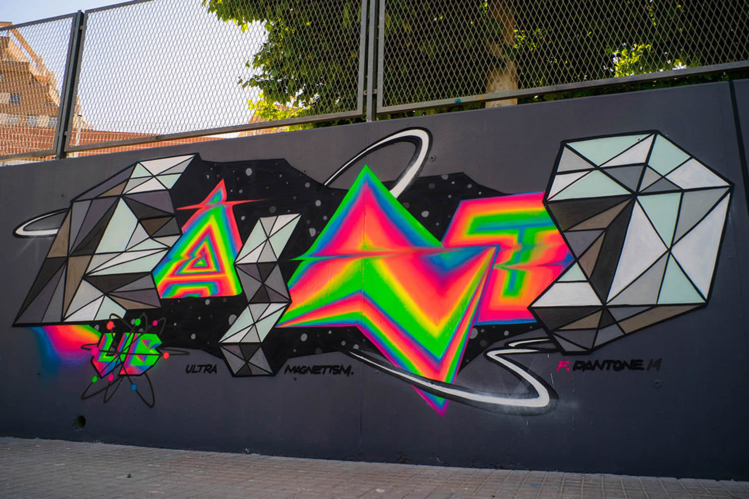 letters and neon colors, graffiti by pantone f