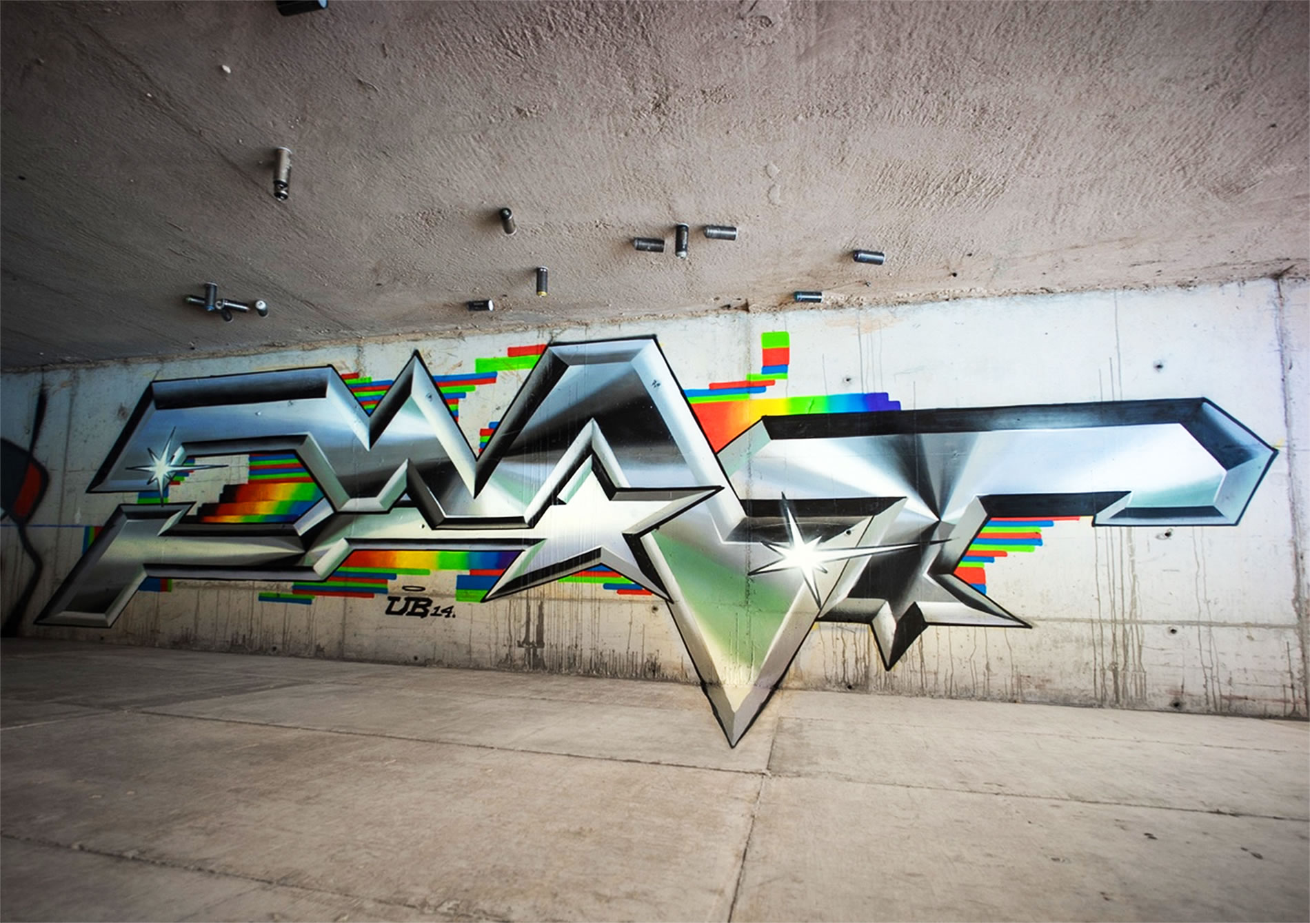 silver and rainbow color lettering, graffiti by pantone f