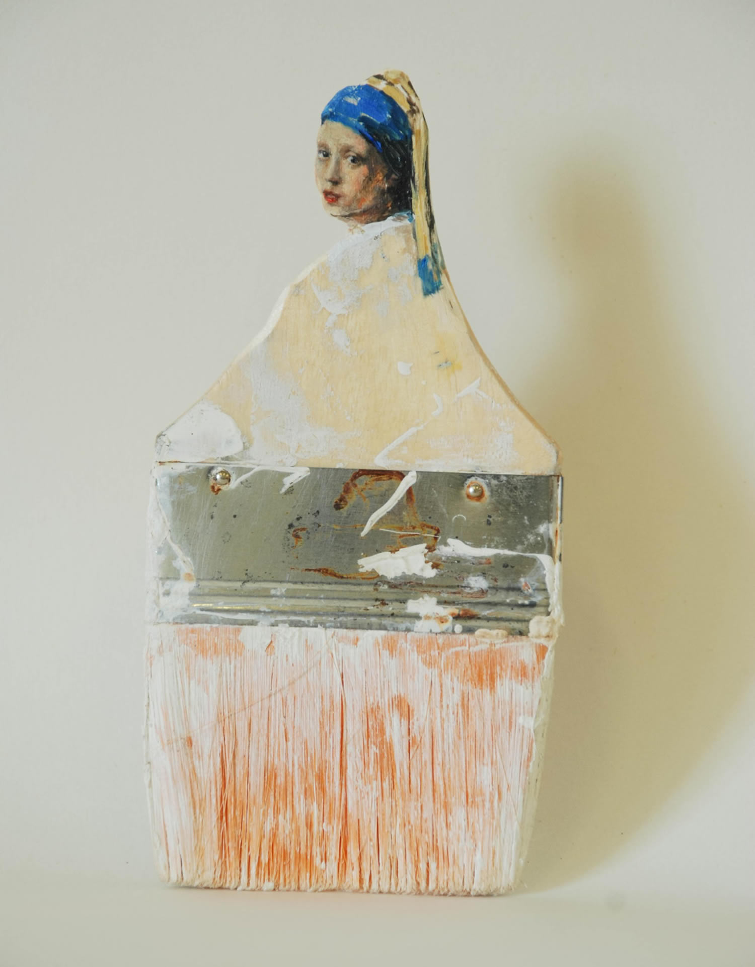 girl with the pearl earring, paintbrush portrait by Rebecca Szeto