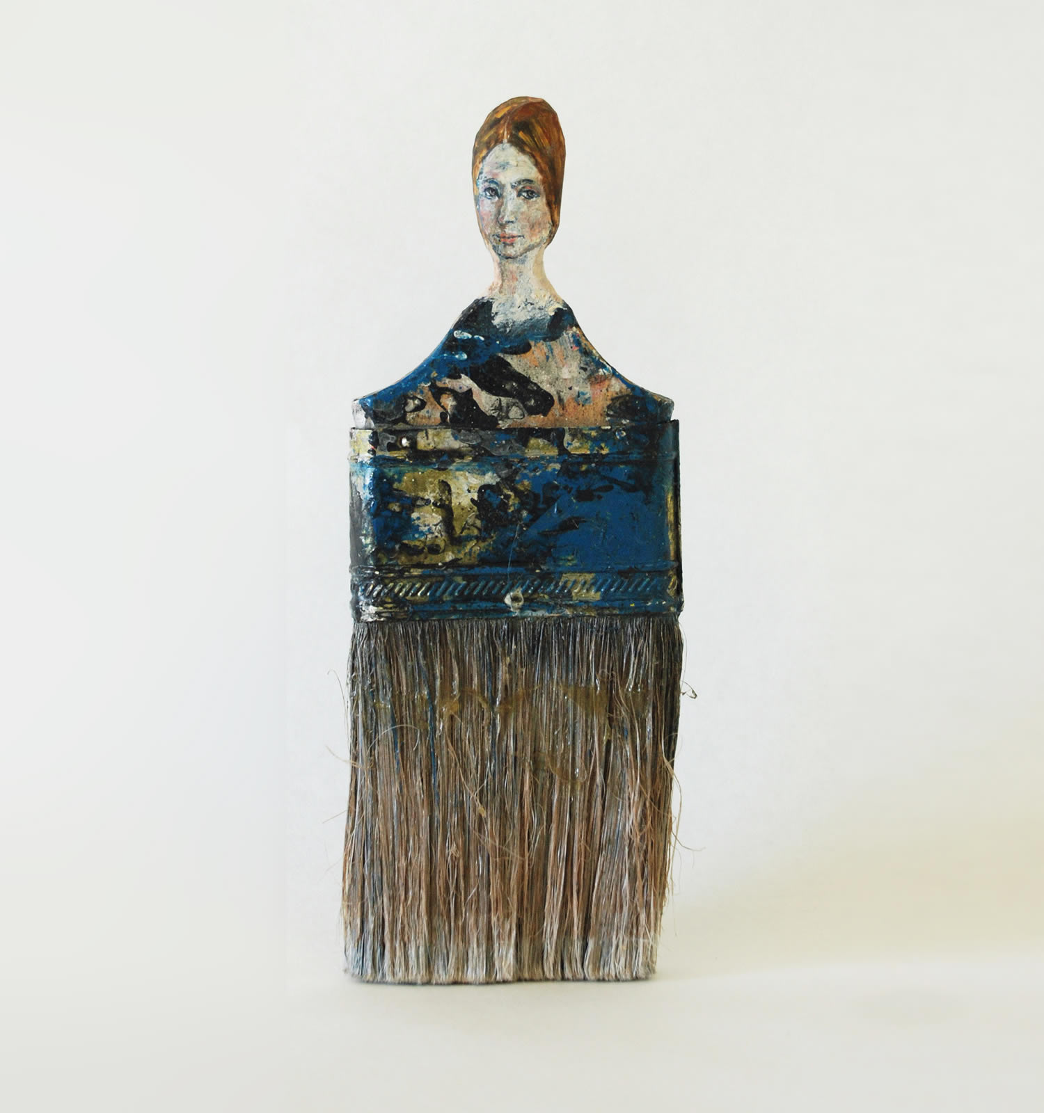lady in blue, paintbrush portrait by Rebecca Szeto